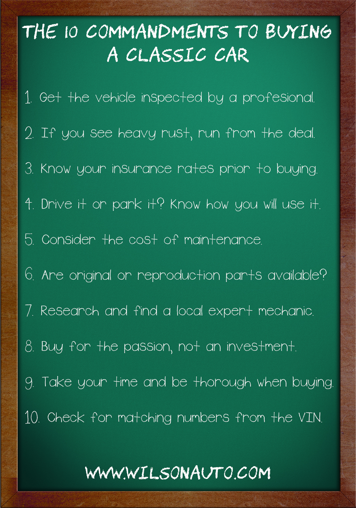 The 10 Commandments To Buying A Classic Car Or Truck Wilson S Auto