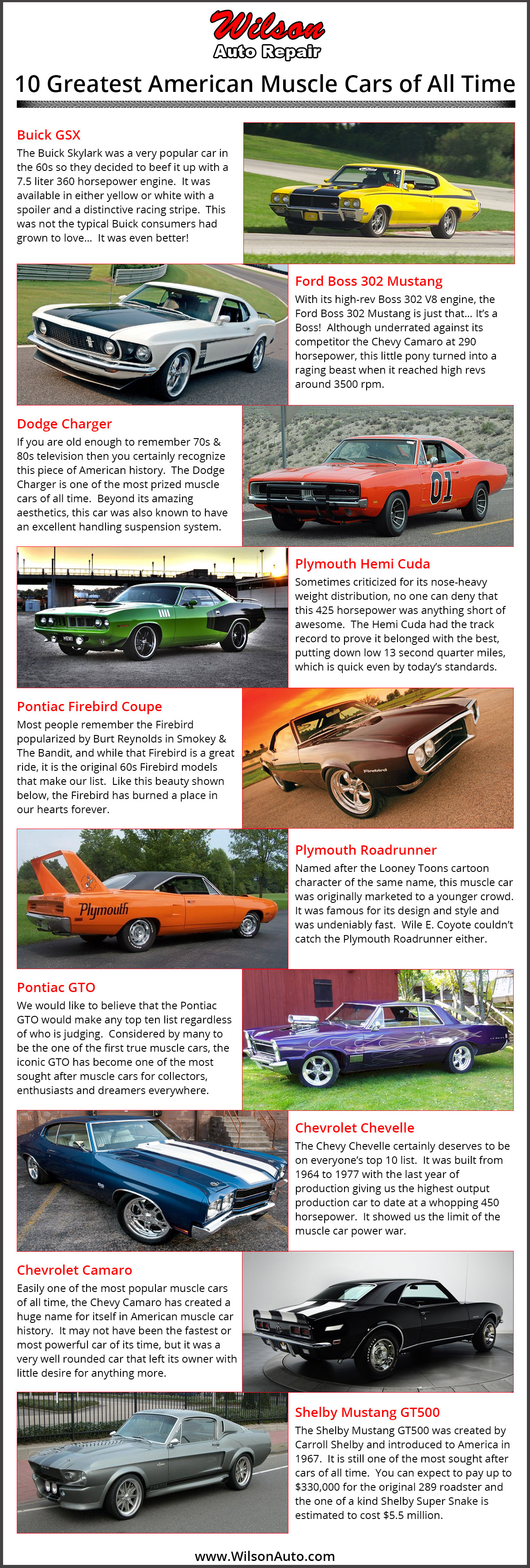 The 10 Greatest American Muscle Cars Of All Time Wilson S Auto